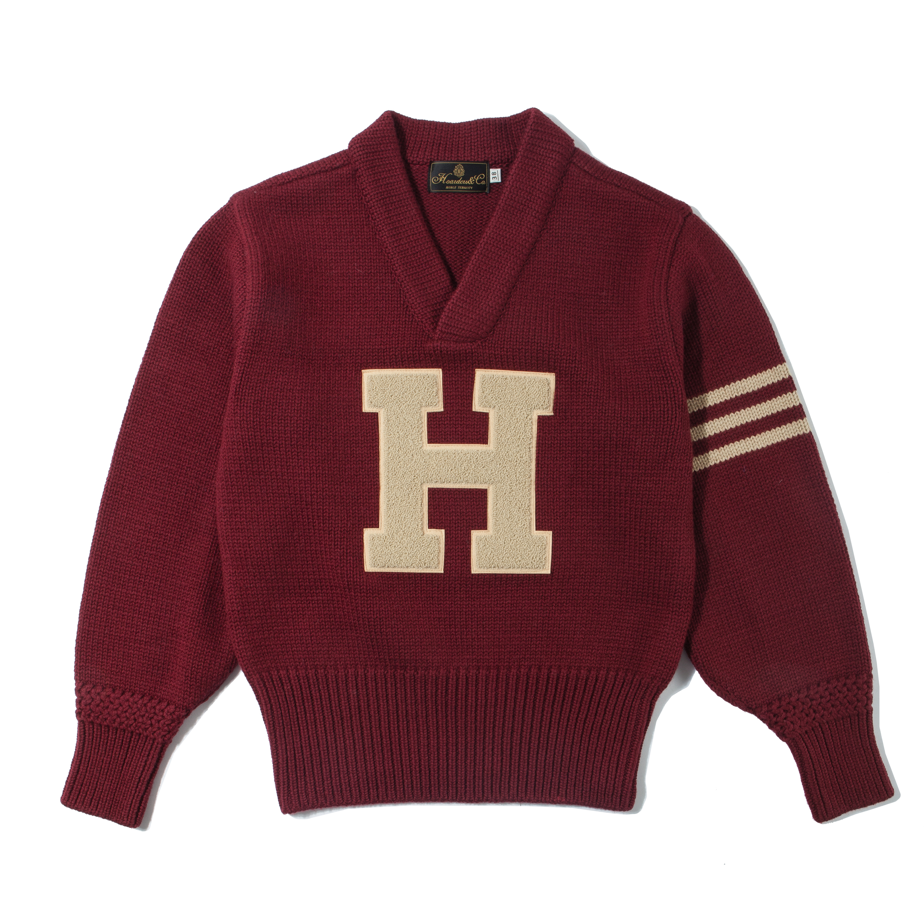 LETTERMAN SWEATER [PATCHED-MAROON RED]